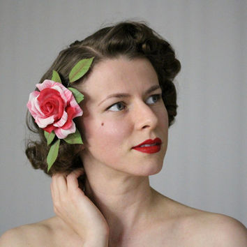 "Rose Hair Accessory, Pink Flower Comb Fascinator, 1930s Headpiece, Vintage Floral Accent, Retro Pinup - ""A Wink & A Kiss"""