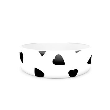 "Suzanne Carter ""Hearts Black"" White Pet Bowl"