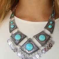 Blue Abyss Antique Silver & Turquoise Plated Statement Necklace
