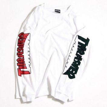 PEAPUF3 THRASHER Letter and Logo Print Long Sleeve Sweater