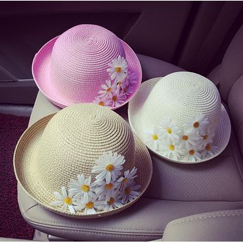 Fashion Small daisy flowers beach fisherman sun protection casual travel white navy pink bucket hat cap women