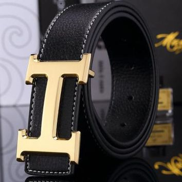 Hermes Trendy Joker Classic H Letter Buckle Smooth Buckle Belt gold