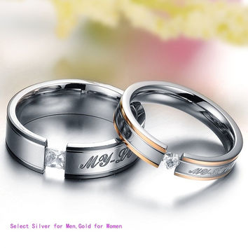 Fashion Gold Couple Stainless Steel Comfort Fit Wedding Bands Promise Ring,My love = 1930342852