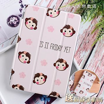 Cute Monkey Flip Cover for iPad