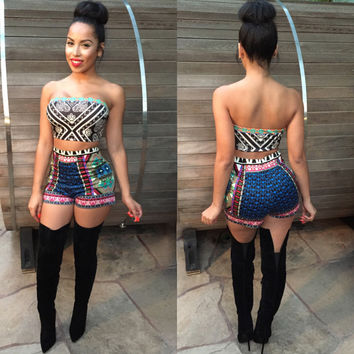 African Summer Print Crop Top and Shorts Set