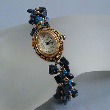 LapisLazuli Gemstone Beadwoven Spiral Rope Bracelet Watch ~Beaded Rope Watch~Gemstone Watch~Bracelet Watch~Dutch Spiral~Blue Lapis Lazuli
