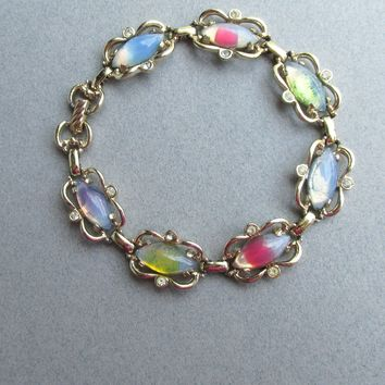 1960's MOD Multi Color Marquise Givre Glass Cabochon Vintage Signed Sarah Coventry Rhinestone Bracelet