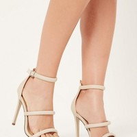 Missguided - Nude Rounded Three Strap Barely There Heels