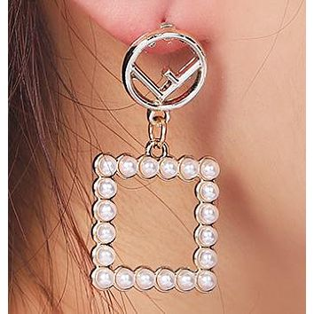 Fendi Fashion New Letter Square Pearl Long Earring Accessories