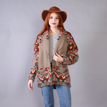 Vintage RALPH LAUREN CARDIGAN / 1990s Novelty Native American Shawl Collar Sweater Coat
