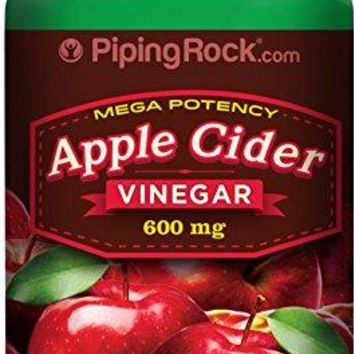 Piping Rock Mega Potency Apple Cider Vinegar 600 mg 200 Quick Release Capsules Dietary Supplement