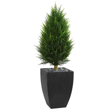 Artificial Silk Tree -4 Ft Cypress Cone Topiary Tree In Black Wash Planters