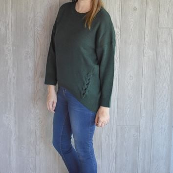 Do It Right Oversized Sweater: Dark Green