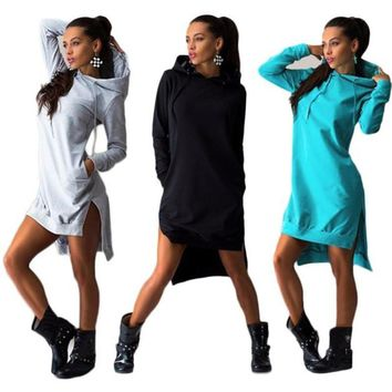 New design Autumn Spring Warm Women Sweatshirt Dress Double Split Hoodie Pullover Pockets Hoodies Plus size 3XL sudaderas mujer