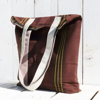 Canvas tote bag chocolate brown green stripes strong shoulderbag marketbag shopping bag