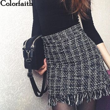 Colorfaith 2019 Women Woolen Mini Skirt Autumn Winter Vintage Straight Plaid Tassel Skater Skirt High Waist Femininas SK5583