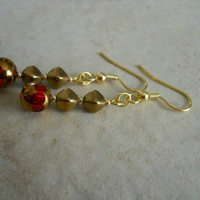 Copper Red Earrings Gold Glass Scarlet Ruby Salsa Red Glass Beaded Jewelry