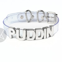 "Harley Quinn ""PUDDIN"" Choker - Small Letters - Silver"