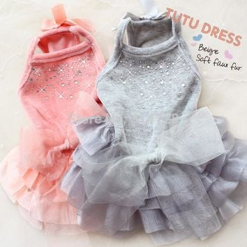 Soft velvet dog clothes prom sleeveless dress tutu with crystal ruffle detail on skirt pet frock apparel
