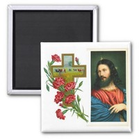 Beautiful Jesus Christ with Cross and Red Flowers