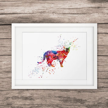 Wildcat Painting Animal Art Watercolor Home Decor Wall Hanging Art