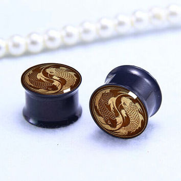 Yingyang wood  fish  ear plugs,SIlver ,Golden,  Black  Screw on plugs,0g,00g ,1/2, 9/16, 5/8, 3/4, 7/8,Titanium  ear plugs,Flash plugs,