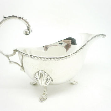 Solid Silver Sauce Boat, Sterling, Gravy, English, Vintage, Tableware, Hallmarked Birmingham 1919, REF:255E