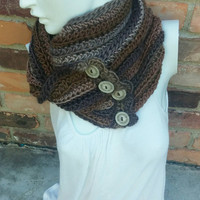 Button cowl winter scarf - Brown and tan infinity scarf - crochet button yarn scarf - Soft crochet button scarf - Neutral colored warm scarf