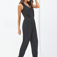 FOREVER 21 Crisscross V-Neck Jumpsuit Black