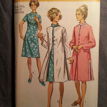 Uncut 1970's Simplicity Sewing Pattern, 9280! Size 18 1/2 Bust 41 XL/XXL/Full Figure/Women's/Misses/Stand-up Collared Dress/Lined Coats