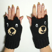 Black Bear Fingerless Mittens, Animal Fingerless Gloves, Crochet Hand Warmers, Winter Mitts, Bear Accessories, Wrist Warmers