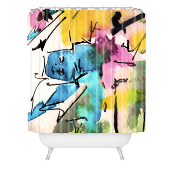 Ginette Fine Art Blue Man Abstract Expressive Shower Curtain