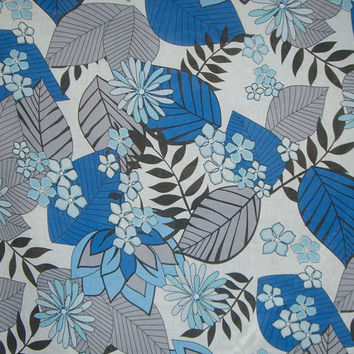 SPECIAL--Blue and Gray Tropical Floral Print Pure Cotton Voile Fabric--One Yard