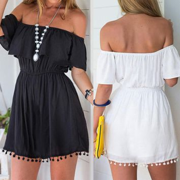 Summer Women Rompers Jumpsuit New Solid Casual Bohemian Sexy Jumpsuit Tassel Sexy Off Shoulder Beach Jumpsuit Backless Playsuit