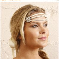 Bridal headband, pearl headband, wedding headband, The great Gatsby hair jewelry- bridesmaid headband, Ivory headband