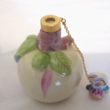 Vintage Rare Japan Mini Ceramic Lime Green and Lavender Perfume Bottle Apple Shaped w/ Butterfly Magnetic Stopper with Chain Unique Mint
