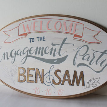 Hand Painted Party Sign | Engagement / Wedding / Birthday / Showers | Oval 12 x 20 | Whitewashed Wood