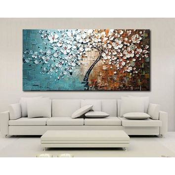 Unframed hand painted canvas oil paintings Set Flower Tree canvas painting for Home Living Room Office Art Picture 60*120cm