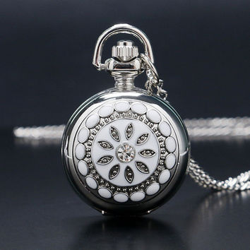 Exquisite Dress Watch Mirror Elegant Silver Jade Crystal Snow Flower Quartz Pocket Watch Necklace Chain Women Lady Girl Gifts