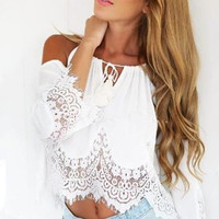 Trumpet Sleeve Open Shoulder Cami Cold Shoulder Floral Lace Crochet Crop