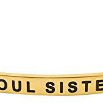 SOUL SISTERS FRIENDS FOR LIFE Mantra Phrase Positive Message Cuff Bangle Bracelet  Jewelry Gifts for Women Teen Girls Best Friends