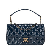 Chanel Navy Quilted Patent Eyelet Flap Bag