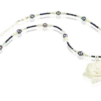 Hibiscus Flower Crystal Pearl Necklace