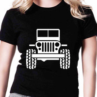Bumper Jeep In Sketch TV Womens T Shirts Black And White