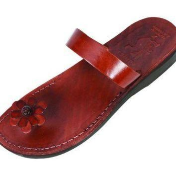 Daisy Toe Popup, Single Strap Slipon Handmade Leather Biblical Sandals - Rebecca