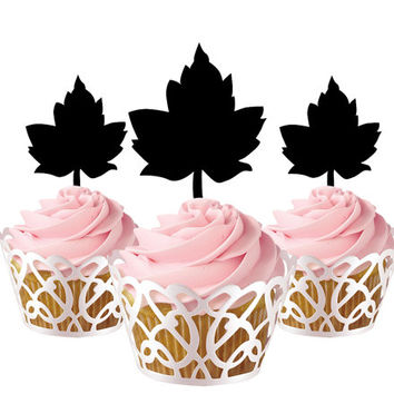 6 pcs in one set grapes leafs CupCake toppers for birthday party decor, acrylic cupcake topper for baby shower, bridal shower cake topper