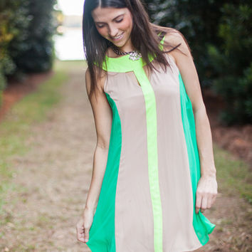 Judith March taupe, green, and yellow shift dress