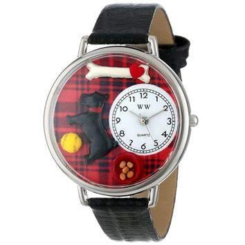 SheilaShrubs.com: Unisex Scottie Black Skin Leather Watch U-0130067 by Whimsical Watches: Watches