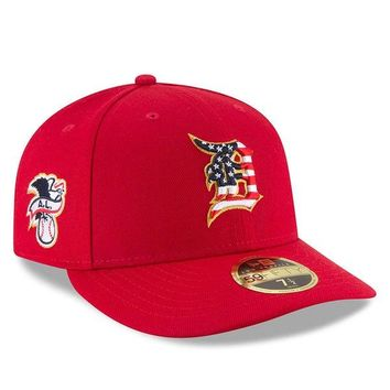 MLB Detroit Tigers Red 2018 Stars & Stripes 4th of July On-Field Low Profile 59FIFTY Fitted Hat