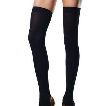 Opaque stirrup thigh highs in BLACK